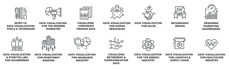 Icons for Datalabs Agency's Data Visualization Workshops and Training Courses