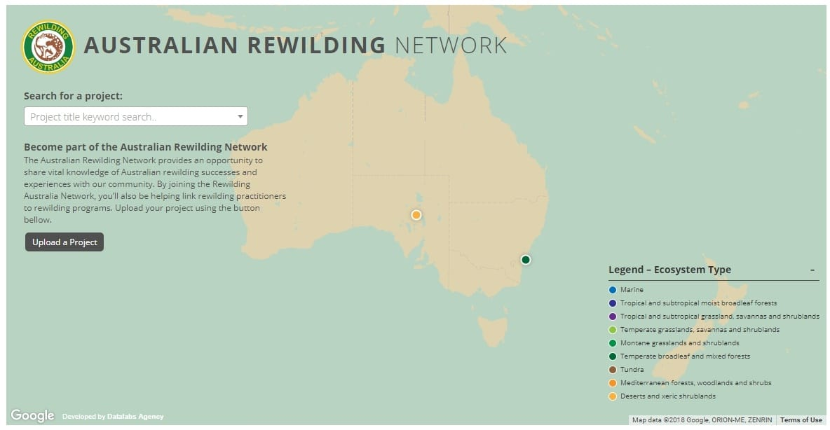 Interactive Map Of Australia.Case Study Rewilding Australia Project Map Datalabs Agency