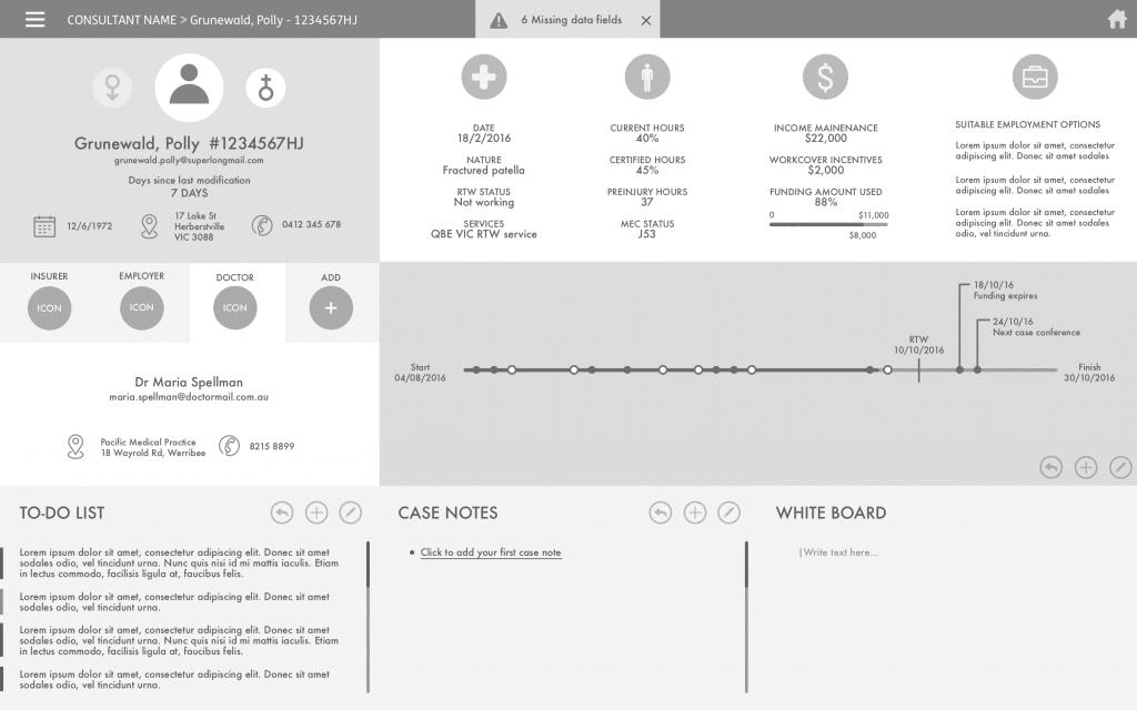 Dashboard Prototype design